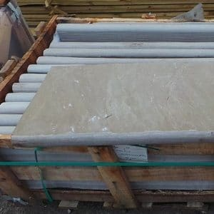 RAJ GREEN SANDSTONE BULLNOSE STEPS COPING