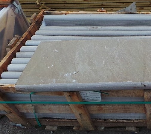 RAJ GREEN SANDSTONE BULLNOSE STEPS COPING